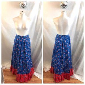 Vintage 1976 Bicentennial USA Ruffle Maxi Skirt 💞